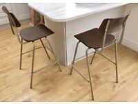 2 1970s Industrial Stackable Breakfast Bar High Chairs Stools, PEL, metal tubular, mid century retro