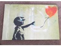 Banksy canvas 79x 50cm girl with heart balloon