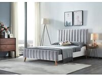🔴LOWEST PRICE IN UK🔵Lucy Bed Frame in grey and Champagne Color With Orthopaedic Mattress Options
