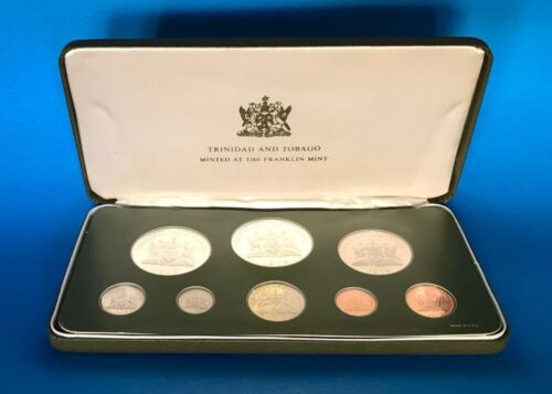 Trinidad and Tobago 1975 8-Coin Sealed Proof Set with SILVER w/ Box & COA    m