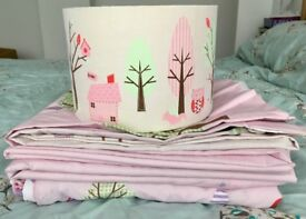 Beautiful Next Woodland Bedding Set with Curtains and lampshade