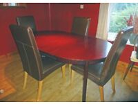 Dinning Room Table (Redwood) + 4 Faux Leather Chairs