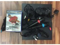 Playstation 2 Console (X2), 8 GAMES, 2 MICROPHONES, CABLES, NO OFFERS.