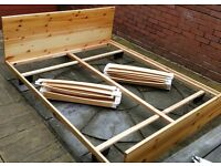 ikea pine king size bed. Strong & sturdy good condition. Frame 206cm length x 164cm wide.