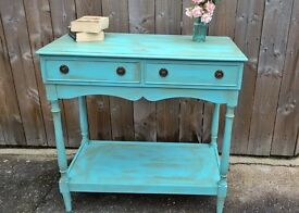 Bold colour hand painted Console / Hall Table with 'Wax Aged' finish