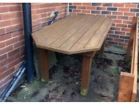 Large, solid wood table and two benches