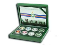 Full set of 3 Commando Brigade/Royal Marines silver plated coins in presentation box
