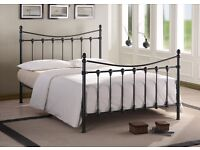 BLACK METAL KING SIZE VICTORIAN STYLE BED FRAME - NEVER BEEN ASSEMBLED