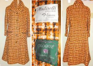 Womens 34 36 4 6 Small Wool Long Winter Coat Made in Canada Orange Plaid Check Tartan Tweed Cloque MINT Monteselli
