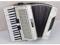 Chanson 72 Bass Accordion - 3 Voice - White Pearl - Excellent Condition