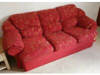Dark red/burgundy floral three seater sofa and armchair EX CNC UP-CYCLE PROJECT