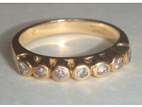 Diamond Ring Half Eternity 18ct gold size I/J (valued at £1,100)