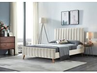 Designer Furniture --(4ft 6inch) Double Size Fully Plush Velvet lucy Beds Frame W Optional Mattress