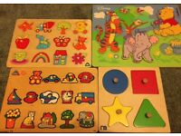 4 lovely wooden puzzles.ELC Mothercare and Disney