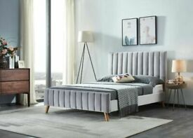 🎉Lowest Price In Uk🎊Lucy Bed Frame in grey and Champagne Color With Orthopaedic Mattress Options
