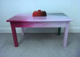 Coffee table - handpainted pink turquoise