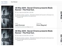 Secret Cinema - Blade Runner MAY 6th BANK HOLIDAY SUNDAY tickets - Face Value