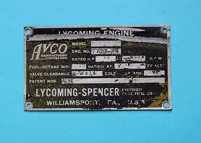 Used, Lycoming Spencer Aircraft Engine Data Plate, O290-G4, Free Ship! for sale  Plymouth