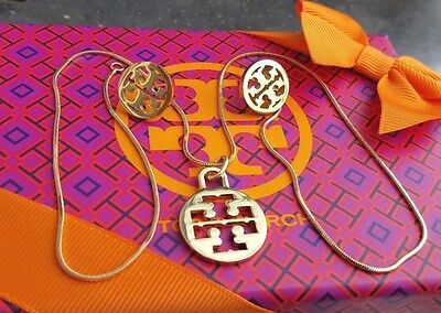 Authentic Tory Burch Logo Necklace & Earring set New with box