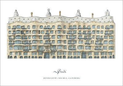 Antoni Gaudi Casa Mila Poster Kunstdruck Bild 84x56cm