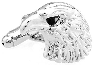- Eagle Head Pair Cufflinks Bird Bald Wedding Dad Fancy Gift Box & Polishing Cloth