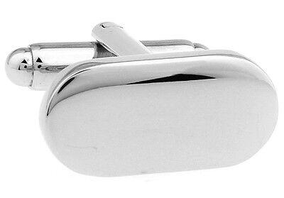 Oval Pair Cufflinks Pill Shape Elegant Wedding Fancy Gift Box & Polishing Cloth Wedding Elegant Gift Box