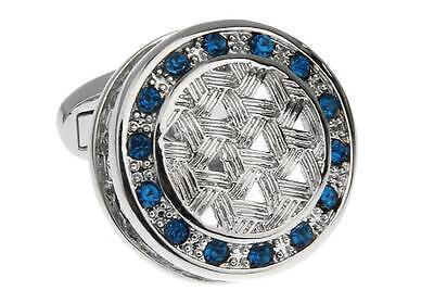- Crystal Blue Weave Design Cufflinks Wedding Fancy Gift Box & Polishing Cloth