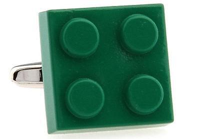 Lego Pair Cufflinks Silver Toy Building Wedding Fancy Gift Box /& Polishing Cloth