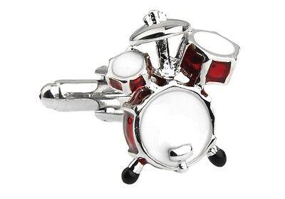 Drum Paar Manschettenknöpfe Rot Silber Schlagzeuger Hochzeit Geschenkbox &