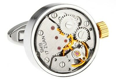 Watch Movement Steampunk Cufflinks Wedding Fancy Gift Box Free Ship Usa