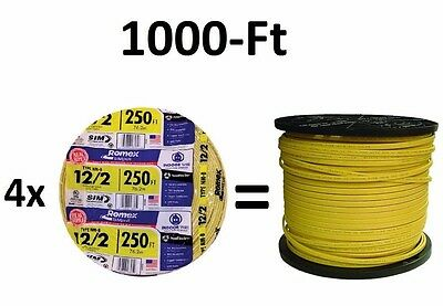 1000-Ft (4x 250' Roll) 12-2 NM-B AWG Gauge Yellow Copper-Wire Cable Romex Indoor