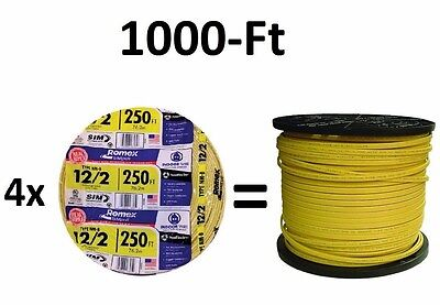 1000-Ft (4x 250' Roll) 12/2 NM-B AWG Gauge Yellow Copper-Wire Cable Romex Indoor