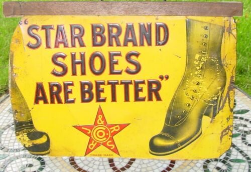Vintage Advertising Sign Star Brand Shoes, Early Original RJ & RS Co. Trade Mark
