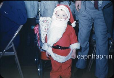 Kid Little Boy Dressed in Santa Claus Suit ChristmasVintage 1950s Slide Photo