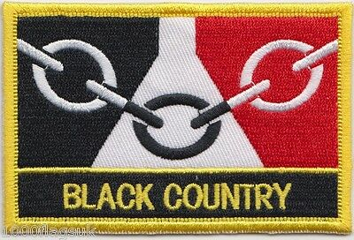 Black Country Regional Flag Embroidered Patch Badge - Sew or Iron on