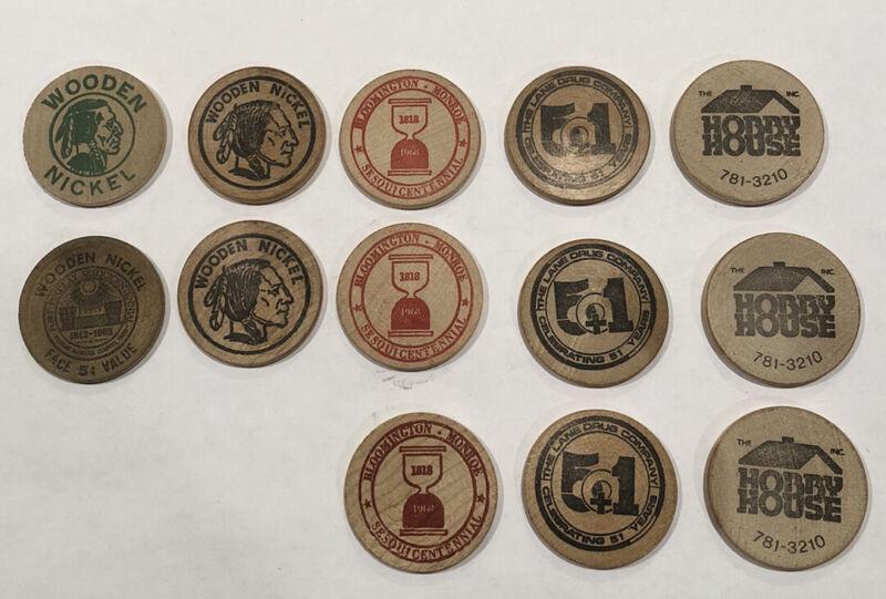 Vintage Wooden Nickel Lot