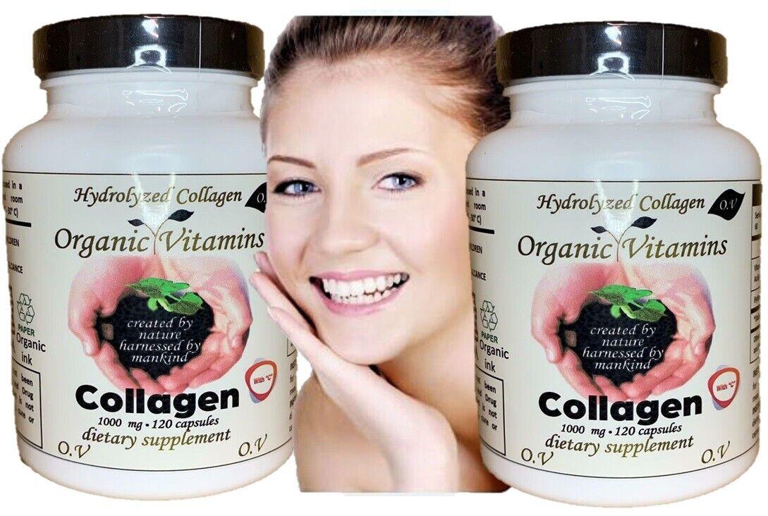 240 Capsules COLAGENO COLLAGEN ALFA Hydrolysate with Vitamin C ANTIANGING organi