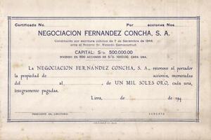 Original-Peru-194-Negociacion-Fernandez-Concha-Company-1000-soles-oro-unissued