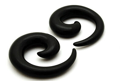 Black Acrylic Plug - Pair of Black Acrylic Spirals set tapers plugs gauges