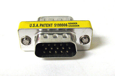 15 Pin VGA SVGA HD15 Gender Changer Coupler Adapter Converter Male to Male Computer Cables & Connectors