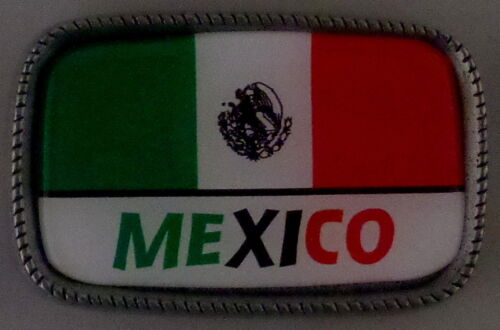 MEXICO FLAG Antique Silver Belt Buckle USA MADE Mexican