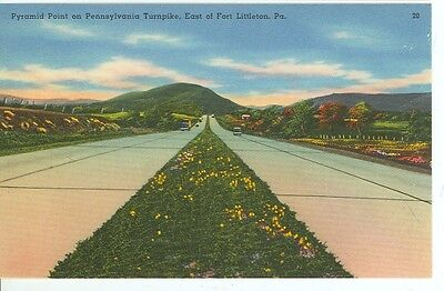 PENNSYLVANIA, FORT LITTLETON PYRAMID POINT TURNPIKE LINEN ERA (JL393) ()