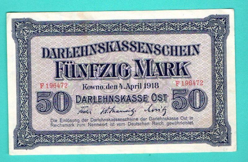 GERMANY LITHUANIA POLAND 50 MARK 1918 R132 KOWNO 588
