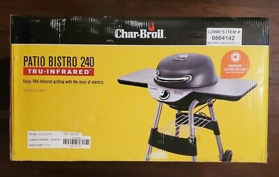 NEW Char Broil TRU InfraRed Patio Bistro Outdoor 1,750 Watt Electric Grill Gray Outdoor Electric Grill