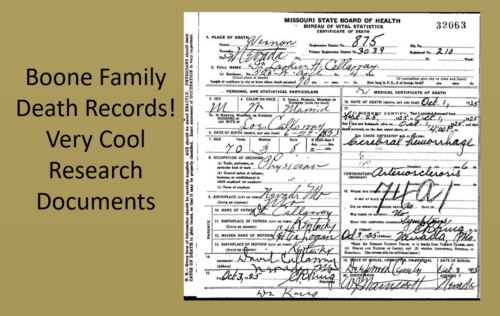 Daniel Boone Family 20 DEATH CERTIFICATES Research Documents