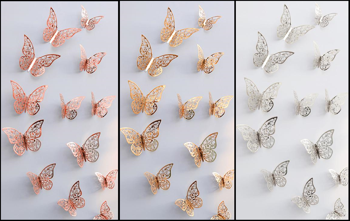 Home Decoration - Butterfly Wall Stickers, 3D Metallic Art Decals Home Room Decorations Decor Kids