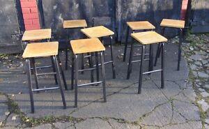 LAST 1 * Vtg School Lab Art Stools - Cafe Bar Restaurant Home Metal Legs Ply Top