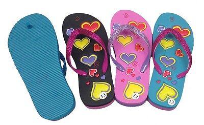 Kids Flip Flops Summer Beach FlatsThongs  Hearts pattern wit