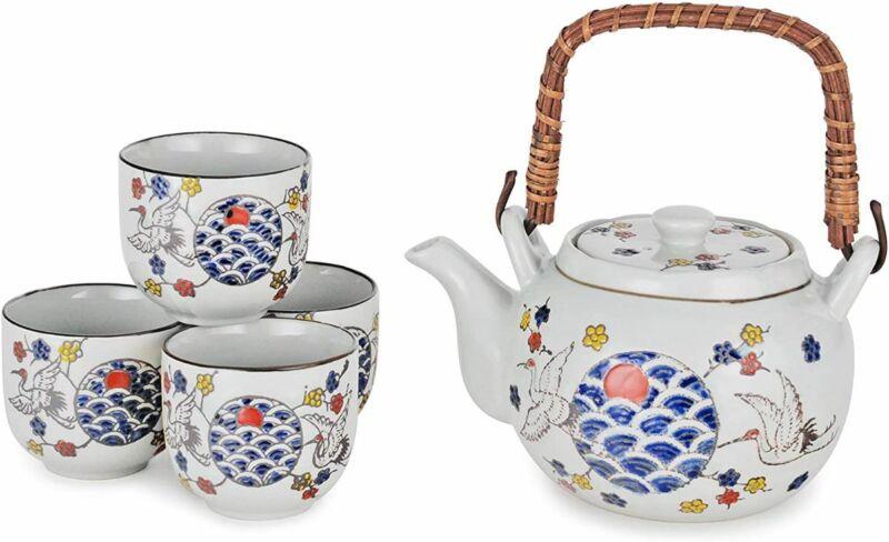 Japanese Tea Set Porcelain 22 oz Rattan Handle 4 Cups Strainer (Japanese Crane)