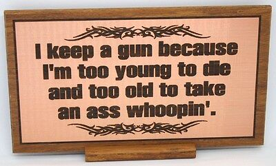 2nd Amendment Need Sign / Plaque Laser Engraved Hardwood  & Stand Western Decor